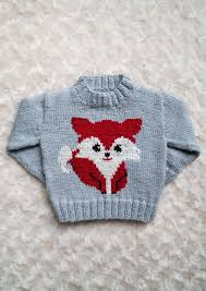 Fox Knitting Chart Intarsia Red Fox Chart Childrens Sweater Knitting