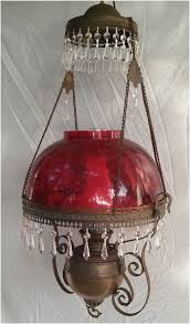 antique hanging oil lamp ruby red shade crystal prisms electrified c 1880