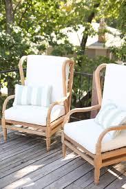 blogger julie blanner s lake house deck with ballard designs ceylon teak outdoor furniture