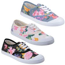 Floral Design Shoes For Ladies Details About Divaz Ellie Flower Print Pumps Womens Classic Summer Plimsole Canvas Shoes Uk3 8