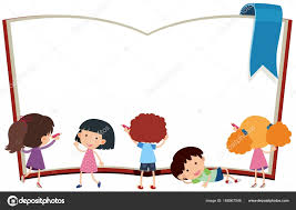 border template with kids and book ilration vector by brgfx