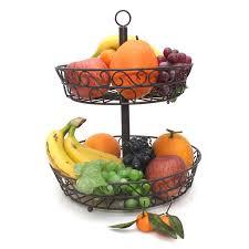 2 tier iron fruit basket stand