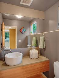 purple vessel sinks with contemporary powder room also bamboo bathroom storage built in shelf gray guest
