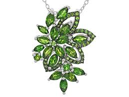 green chrome diopside sterling silver pendant with chain 3 22ctw doh389 jtv com