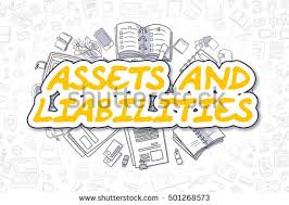 assets and liabilities assets liabilities sketch business illustration yellow stock