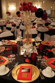 red black and gold table decorations for 50th birthday party red carpet affair