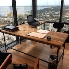 pipe leg desk urban wood l shape crafted of reclaimed with legs or square steel how
