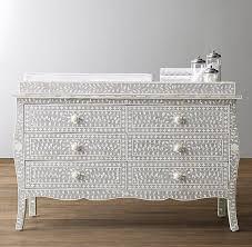 set dresser gray and white mosaic bone inlay wide topper set dresser