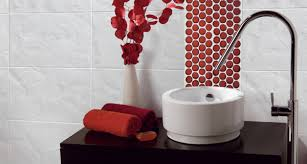 Black and red bathroom accessories Red Gold Black White And Red Bathroom Accessories With Red Circle Accent Tile Red Bathroom Inspiration From Bathroom Bliss By Rotator Rod Pinterest Red Bathroom Inspiration Your Dream Home Bathroom White