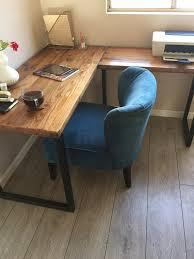reclaimed douglas fir l shaped desk shown with square steel u wooden corner