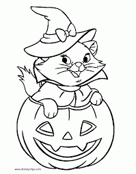 Cute Halloween Coloring Pages For Kids Disney Halloween Coloring Pages Cat With Witch Hat In
