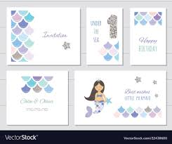 Mermaid Birthday Card Templates Set For Girls One