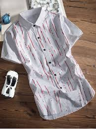 Patterned Button Up Shirts Enchanting Paint Lines Printed Button Up Shirt RED Shirts XL ZAFUL