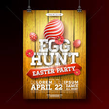Vector Easter Egg Hunt Party Flyer Illustration With Painted