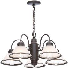 hampton bay halophane 5 light oil rubbed bronze ceiling glass pendant chandelier 1 of 4only 0 available