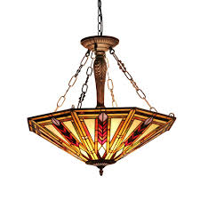 chloe lighting jayden tiffany style 3 light mission inverted ceiling pendant fixture 25 shade