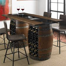 Wine barrell furniture Rocking Loire Double Wine Barrel Gathering Table With Glass And Wood Top Wine Enthusiast Flexx Productions Loire Double Wine Barrel Gathering Table With Glass And Wood Top
