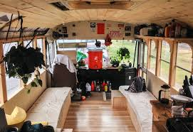 tiny house school bus. Image Of: Rustic School Bus Tiny House Interior H