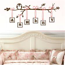 wall decal baby baby girl es es for little girls vinyl owl art monogram branch decal wall decal baby