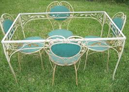 wrought iron vintage patio furniture. Woodard Wrought Iron Patio Set Antique Vintage Upholstered Garden Table Furniture E