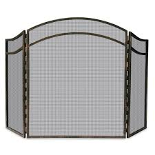uniflame black wrought iron single panel fireplace screen with doors um s 1062 the home depot