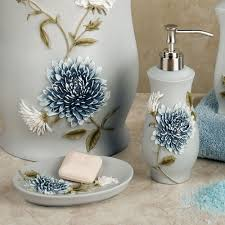 Dog Bathroom Accessories Blue Bathroom Accessories On Handpainted Blue Floral Bathroom Dog