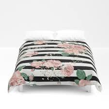 vintage fl roses black and white stripes duvet cover