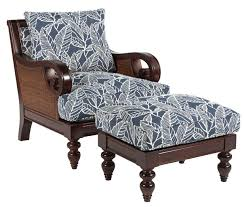 Sam Moore Tailynn Tropical Exposed Wood Chair and Ottoman Set
