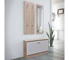 Mirror Coat Rack Shoe Cabinet Set 100pcs White Oak Wood Mirror Coat Rack Organiser 100