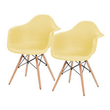 iris yellow plastic shell chair with arm rest set of 2 586724 the home depot