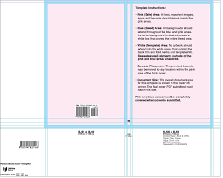typical softbound cover template showing the pink active areas and the blue safety areas