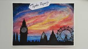 watercolour painting london night sky sd drawing