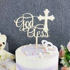 God Bless Color Wooden Cake Topperfirst Communion Cake Topper