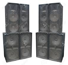 concert stage speakers. old powerful stage concerto audio speakers isolated on white background stock photo - 11262113 concert