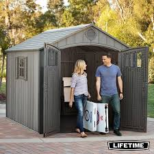 lifetime 8ft x 10ft 2 4 x 3 0m simulated wood look storage shed with