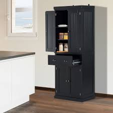 homcom 72inch wood kitchen pantry cabinet tall storage cupboard food organizer shelf home furniture black