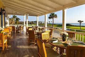 Golf-and-ocean views along the dining terrace at Al Fresco./courtesy