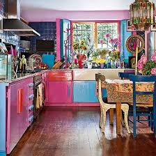 pink kitchen wall blue