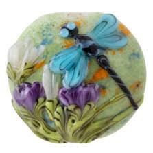 Blue Dragonfly with Purple <b>Flora</b> Lentil Focal Glass <b>Bead</b> by Grace ...