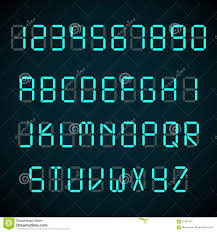Letters By Number Digital Font Alarm Clock Letters And Numbers Vector Alphabet Stock