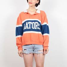 vintage university of florida gators sweatshirt orange blue striped rugby shirt 1980s sporty uf football sweater