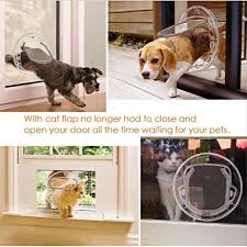 transpa 4 way locking pet door for cats small dogs round cat flap