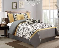 7 piece modern oversize yellow black white grey fl comforter set queen size