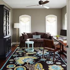 colors for office. Traditional Home Office With A Vibrant Rug And Gray Walls [Design: Molly Quinn Design Colors For
