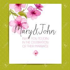 Wedding Invitation Layout With Sakura Flowers Vector Template