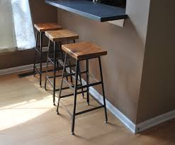 Table Height Stools Kitchen Reclaimed Wood And Steel Industrial Shop Stool Made In Chicago