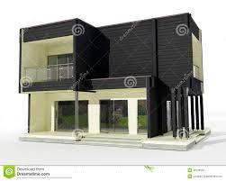 Legno Bianco Nero : Modello d della casa di legno in bianco e nero su un fondo