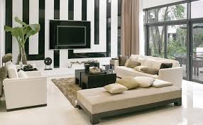 Geometric Backdrop Of The Living Room Steals The Show Black And White  Living Room With Yellow Accents