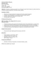 Outreach Worker Sample Resume