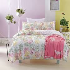 hot pink yellow and green pineapple print vintage shabby chic cute style 100 cotton twin full size bedding sets for girls